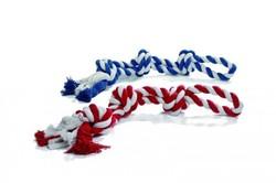 """I.P.T.S. Игрушка для собак """"Канат с 3-мя узлами"""" красно/белый, бело/голубой 600г*67см"""