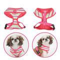 Puppia Шлейка-жилетка для собак розовая полоска, красный кант, лапка, размер L