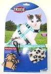 TRIXIE Шлейка с поводком для котят с 2-мя игрушками, голубой нейлон с рисунком