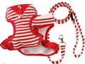 I's Pet Шлейка-жилетка красная в полоску с поводком 1,2м, размер М