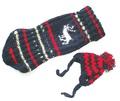 Fluk Свитер с шапочкой вязаный синий/красный, спина 26-27см, грудь 26-36см