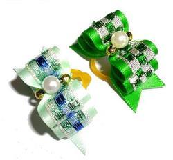 Lukky Бантик для собак на латексной резинке, зеленый, 2шт в уп.