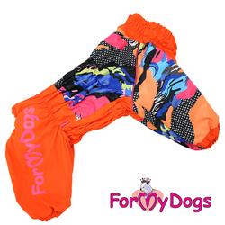 ForMyDogs Комбинезон для больших собак из плотного водонепроницаемого материала на меховой подкладке и синтепоне, модель для девочек, цвет коричневый, размер D1