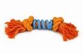 """Beeztees Игрушка для собак """"Канат с 2-мя узлами со спиралью"""", оранжево/голубой 32см"""