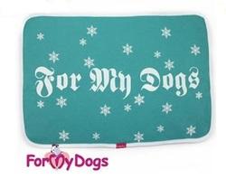ForMyDogs Пледик-подстилка-коврик бирюза, Снежинки, размер 65х45см.
