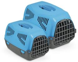 "MPS Переноска для собак ""Sirio Big"" пластик 64х39х39 см, цвет синий/черный."