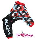 ForMyDogs Дождевик для больших пород собак черный/красный, модель для мальчиков, размер D1*