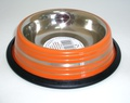 DOGMAN Миска металлическая №0 на резинке, оранжевая полоска, 0,3л/10,5см