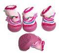 Ботиночки-носочки для собак на резиновой подошве, розовый, №4, №5